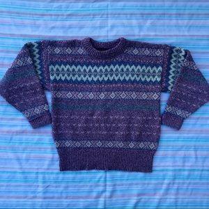 Vintage Eddie Bauer Wool Blend Knit Folk Sweater